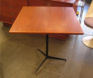 1960s Square Teak & Welded Iron Table