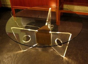 Brass, Lucite and Glass Lighted Coffee Table