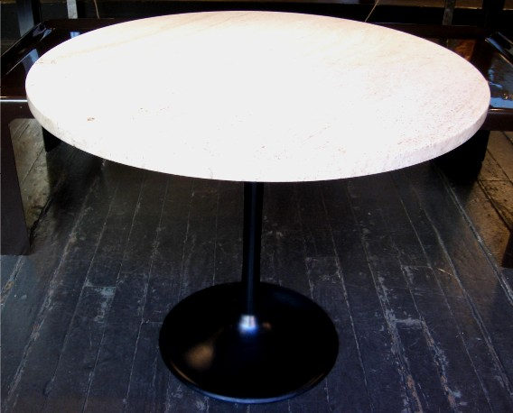 Black Based Tulip Side Table w/ Travertine Top