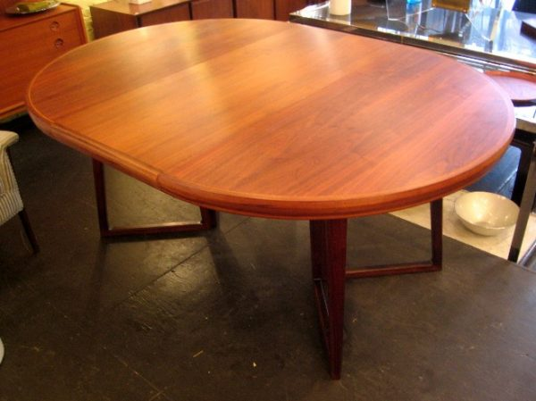1960's Black Walnut Round Extension Dining Table