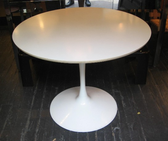 "1970s 36"" White Tulip Dining Table by Burke"