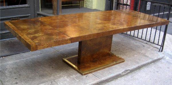 1970s Burlwood Pedestal Dining Table