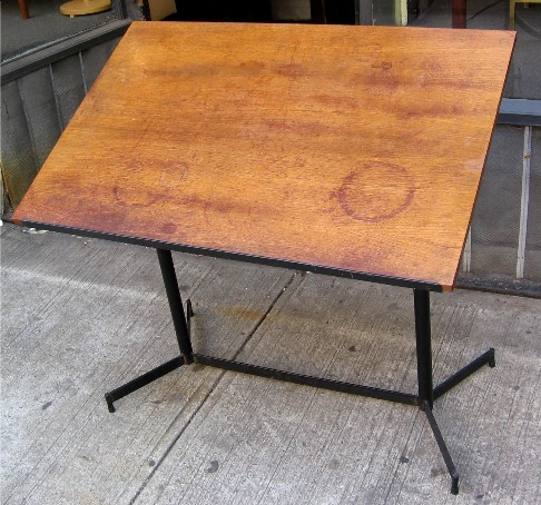 1950s Mahogany and Metal Drafting Table