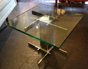 1970s Chrome and Glass Side Table