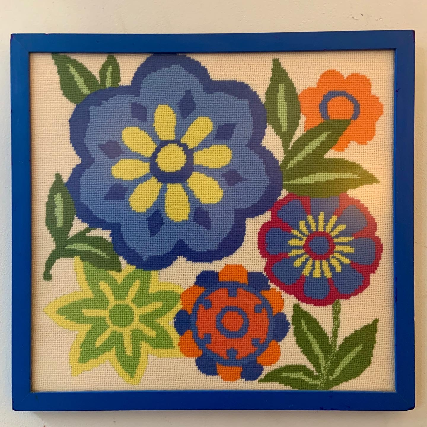 Garden Flowers Needlepoint in Lacquered Blue Frame