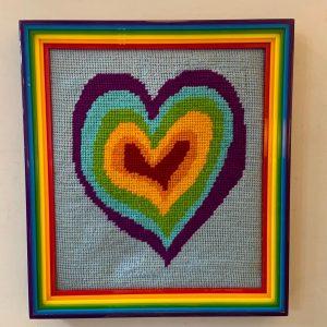 Rainbow Heart Needlepoint in Amazing Plexi Frame