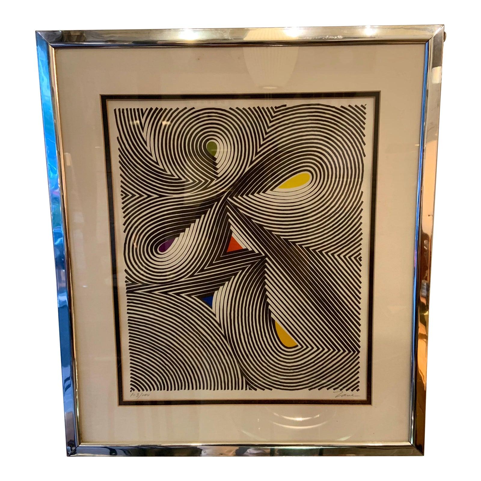 Framed 1970s Op Art Screen Print by Zane