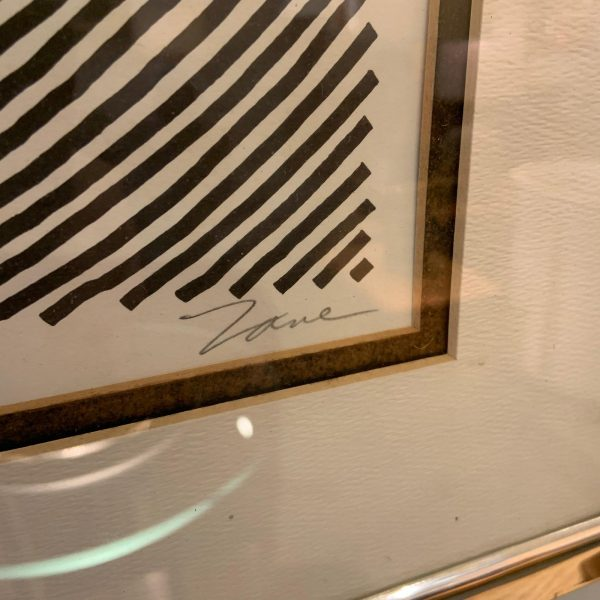 Framed 1970s Op Art Screen Print by Zane