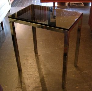 1970s Smoked Glass and Chrome Small Side Table