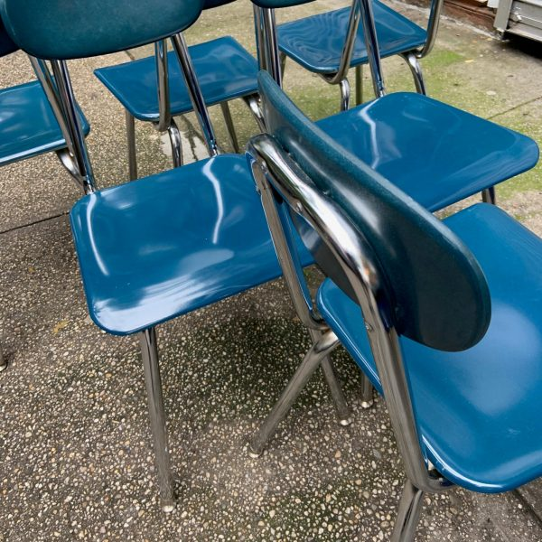 Navy Blue Melamine & Chrome School Chairs Set of 6