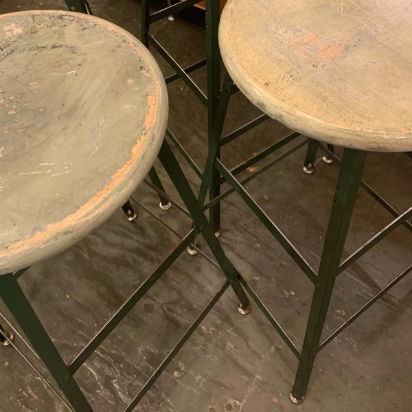 Steel and Maple Industrial Stools by Pollard