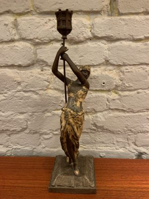 Sculptural Candelabra of Woman Bearing Torch