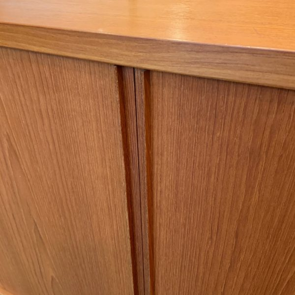 Small Tambour Door Teak Credenza by Carlo Jensen for Poul Hundevad