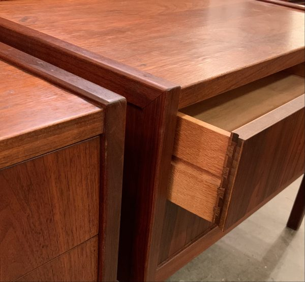 Pair of Two Drawer Bedside Tables in Walnut