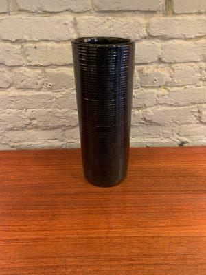Tall Black Stoneage Modern Vase by Zanesville