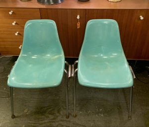 Pair of 1970s Turquoise Fiberglass Chairs