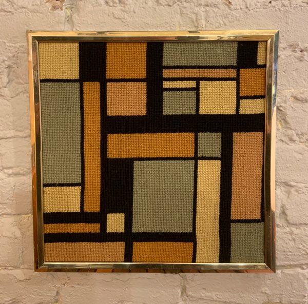 Framed Mondrian Style Needlepoint