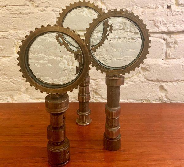 Industrial Feliciano Bejar Steel, Brass and Glass Magiscope Sculptures