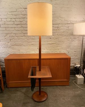 Walnut Floor Lamp With Side Table and Magazine Holder by Laurel