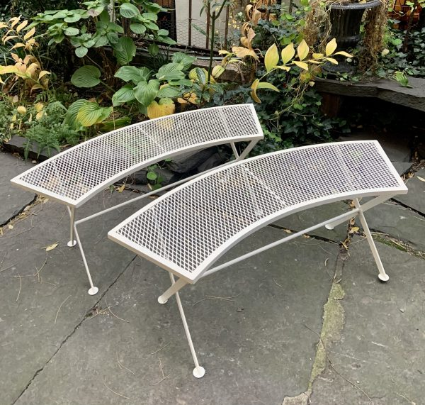 Pair of Curved Garden Patio Benches by Salterini