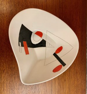 Geometric Ceramic Dish by Peter Orlando, circa 1960