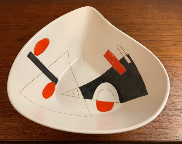 Geometric Ceramic Dish by Peter Orlando, circa 1960