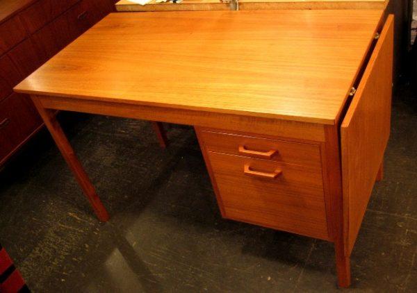 Single Pedestal Danish Drop Leaf Teak Desk