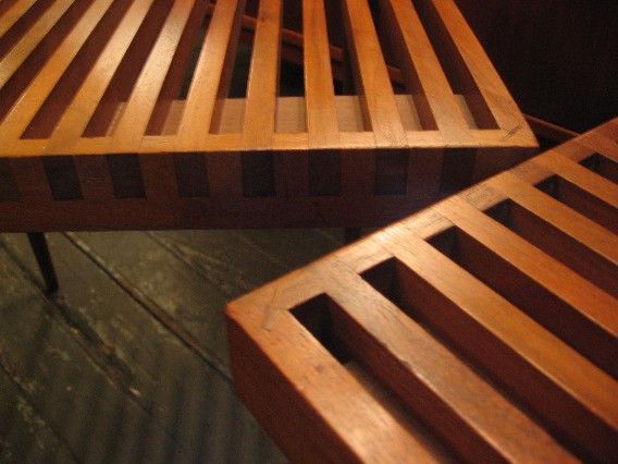 Slatted Walnut Benches by Mel Smilow