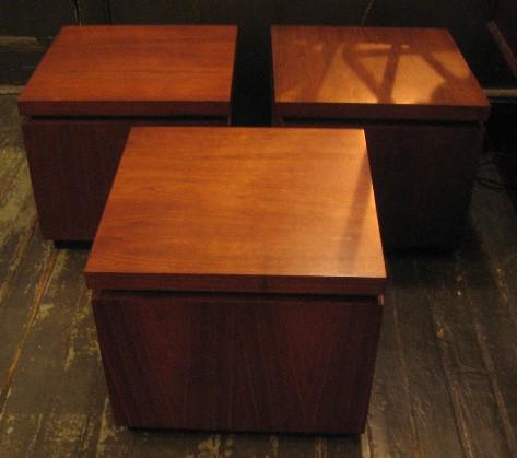 Set of Three Walnut Cube Side Tables