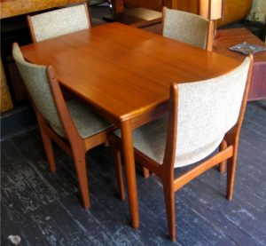 Teak Draw Leaf Dining Table and Four Chairs