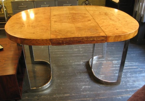 Chrome and Burl Wood Extension Dining Table