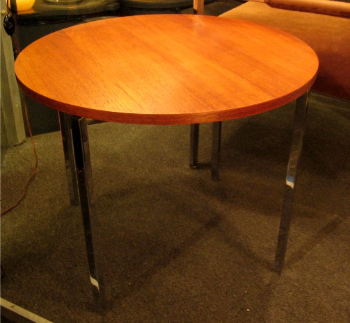 Florence Knoll Teak and Chrome Side Table
