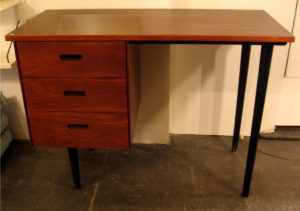 Single Pedestal Walnut Desk by Thonet