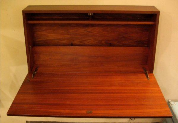 Wall Mounted Walnut Drop Front Desk