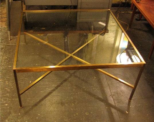 Harvey Probber Brass and Glass Coffee Table