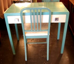 Simmons Painted Metal Writing Table with Chair