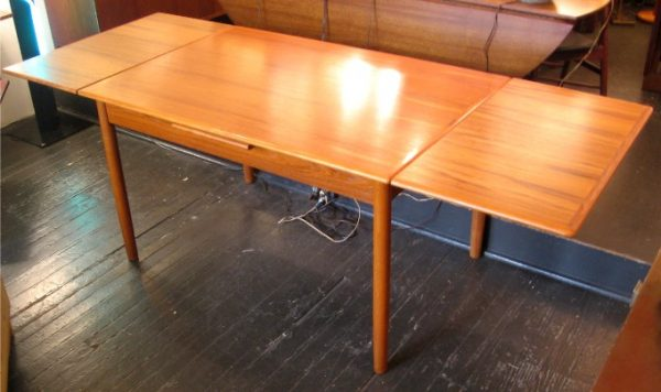 Danish Teak Draw Leaf Dining Table