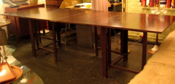 Massive Drop Leaf Extension Table In the Style of Bruno Matheson