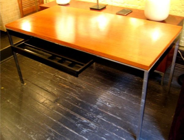 Steelcase Chrome and Walnut Writing/Dining Table