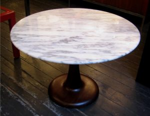 Walnut Tulip Base Table with Marble Top