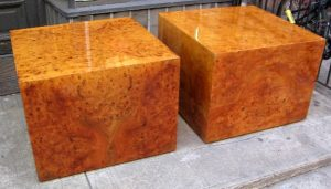 Pair of Burl Wood Cube Side Tables
