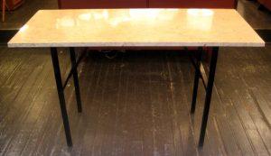 Limestone and Enameled Metal Writing Table