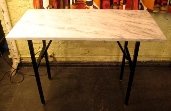 Marble and Enameled Metal Writing Table