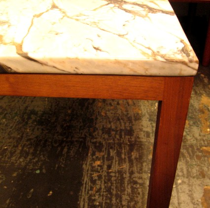 Parsons Style Walnut Side Table with Marble Top