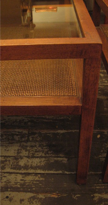 Walnut, Glass and Cane Side Tables