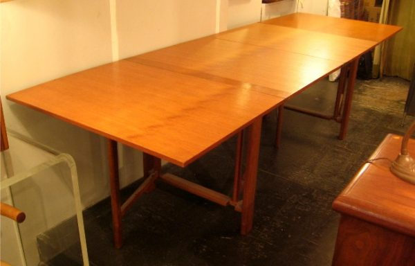 assive Teak Extension Table In the Style of Bruno Matheson