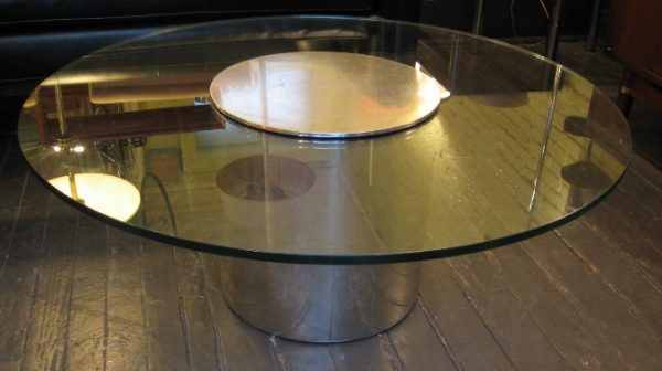 Paul Mayen Aluminum and Glass Coffee Table