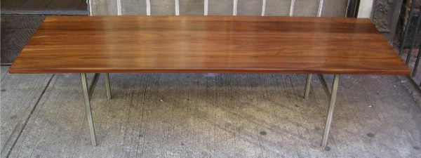 Walnut and Stainless Case Study Coffee Table