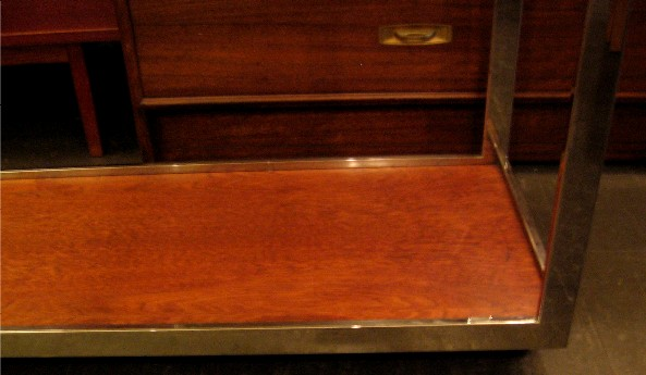 Milo Baughman Chrome Framed Rolling Console Table