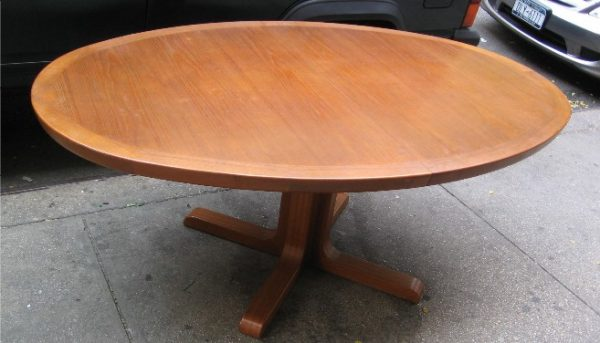 Large Teak Oval Danish Extension Table